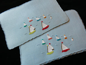 Gay Harbor Vintage Marghab Madeira Embroidery Cocktail Napkins - Set of 6