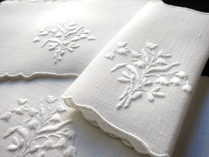 Lily of the Valley Vintage Madeira Embroidery Linen Cocktail Napkins - Set of 8