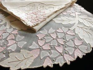 Pink Viburnum Vintage Madeira Embroidery Organdy Placemat Set - Setting for 8