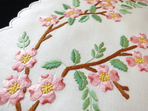 Pink Dogwood Flowers Vintage Madeira Embroidery Linen Placemat Set - Setting for 8