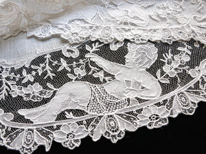 Cherubs & Flowers Antique 19th Century Point de Gaze Lace Placemats - Set of 12