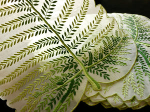 Green Leaves Vintage Madeira Embroidery Organdy Placemat Set - Setting for 8