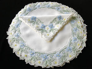 Blue Flowers Vintage Madeira Embroidery Placemat Set - Setting for 6