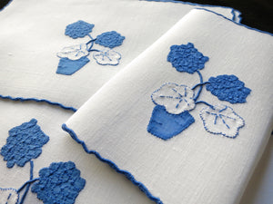 """Geranium"" in Blue Vintage Marghab Madeira Embroidered Cocktail Napkins - Set of 8"