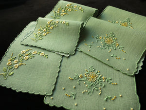 Yellow Flowers Vintage Madeira Embroidery Linen 6 Cocktail Napkins