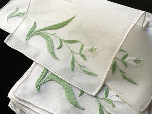 Graceful Flowers Vintage Italian Hand Embroidery Linen Cocktail Napkins - Set of 8