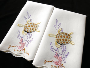 Sea Turtles Vintage Madeira Hand Embroidery Pair of Linen Guest Towels