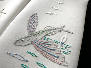 Flying Fish Vintage Madeira Hand Embroidery Pair of Linen Guest Towels