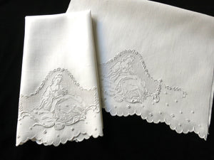 Romantic Antique Appenzell Hand Embroidery Towels ~ Matched Pair
