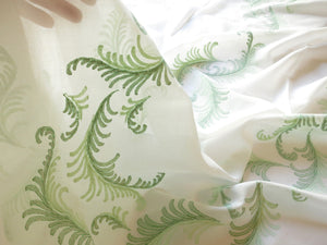 Lush Green Ferns Vintage Madeira Embroidery Organdy Oval Tablecloth 54x120
