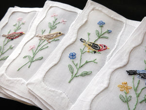 Colorful Birds Vintage Madeira Embroidered Linen Cocktail Napkins - Set of 8