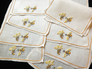 Bees Vintage French Beauvais Embroidered 8 Vintage Cocktail Napkins