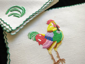 Colorful Rooster Farmhouse French Vintage Hand Embroidered Placemat Set for 6