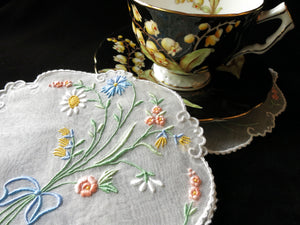 Bows & Flowers Vintage Madeira Embroidery Cocktail Rounds Napkins - Set of 8