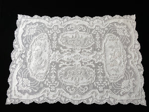 Beautiful Family Scenes Antique Appenzell Tray Cloth or Doily