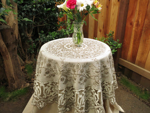 Birds Antique Densely Embroidered Madeira Cutwork Round Tablecloth 58""