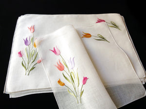 Colorful Tulips Vintage Italian Embroidered Linen Placemats - Set of 8