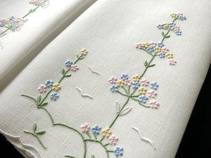 Tall Flower Trees Vintage Madeira Embroidery Guest Towels - Set of 2