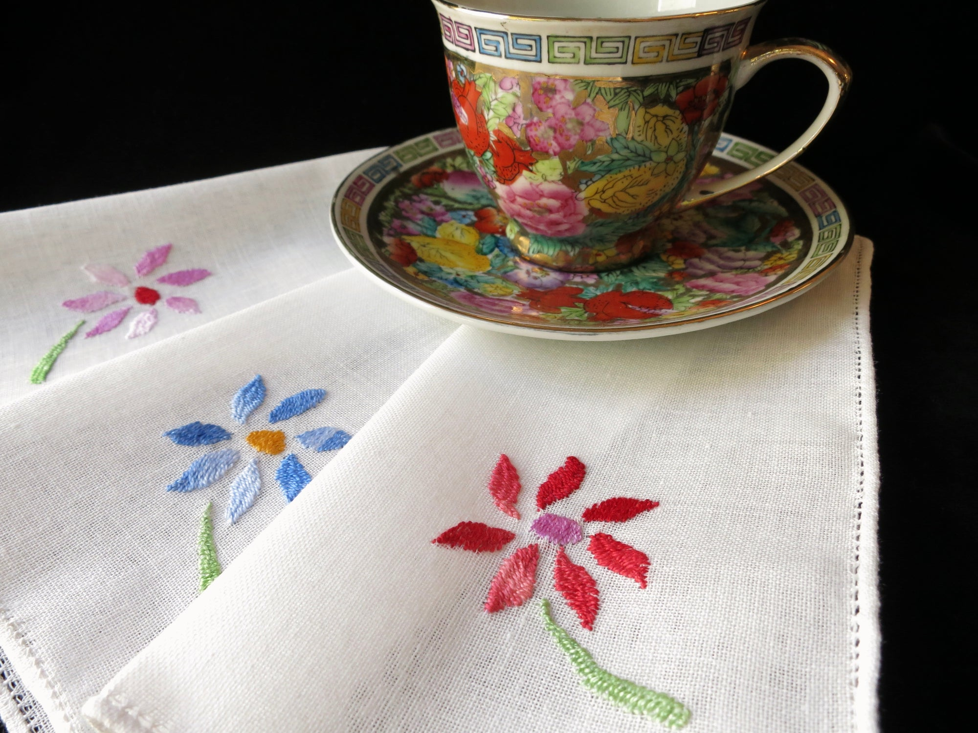 Pretty Flowers Vintage Hand Embroidery Linen Cocktail Napkins - Set of 12