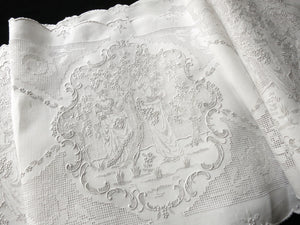 Ladies Gathering Flowers Antique Swiss Appenzell Embroidery XL Table  Runner 11x112""