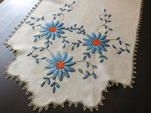 Vivid Blue Flowers Antique Embroidered Linen Table Runner 19x53""