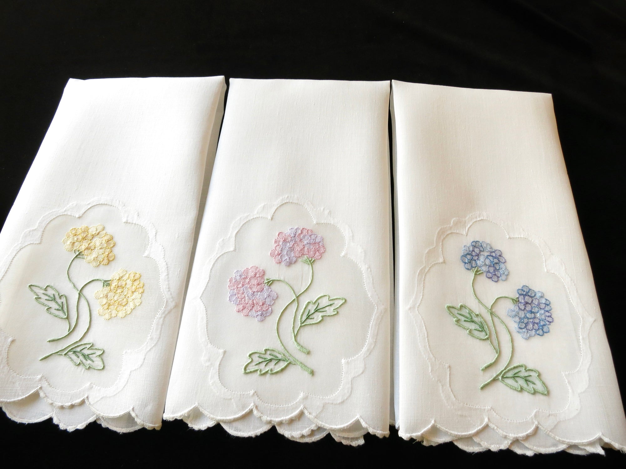 Colorful Hydrangeas Vintage Madeira Embroidery Guest Towels - Set of 3