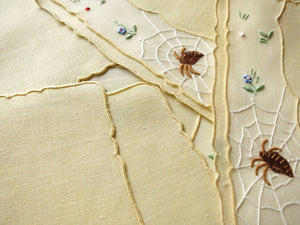Spiders on Web Vintage Madeira Cocktail Napkins - Set of 8