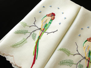 Colorful Birds Parakeets Vintage Madeira Embroidery Guest Towels - Set of 2
