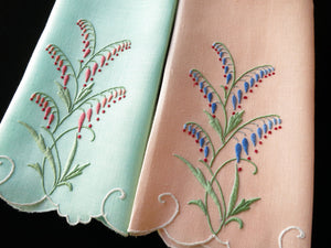 Bleeding Hearts Vintage Madeira Embroidery Guest Towels - Set of 2