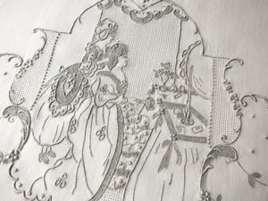 Lady at her Dressing Table Antique Italian Hand Embroidery Guest Towel