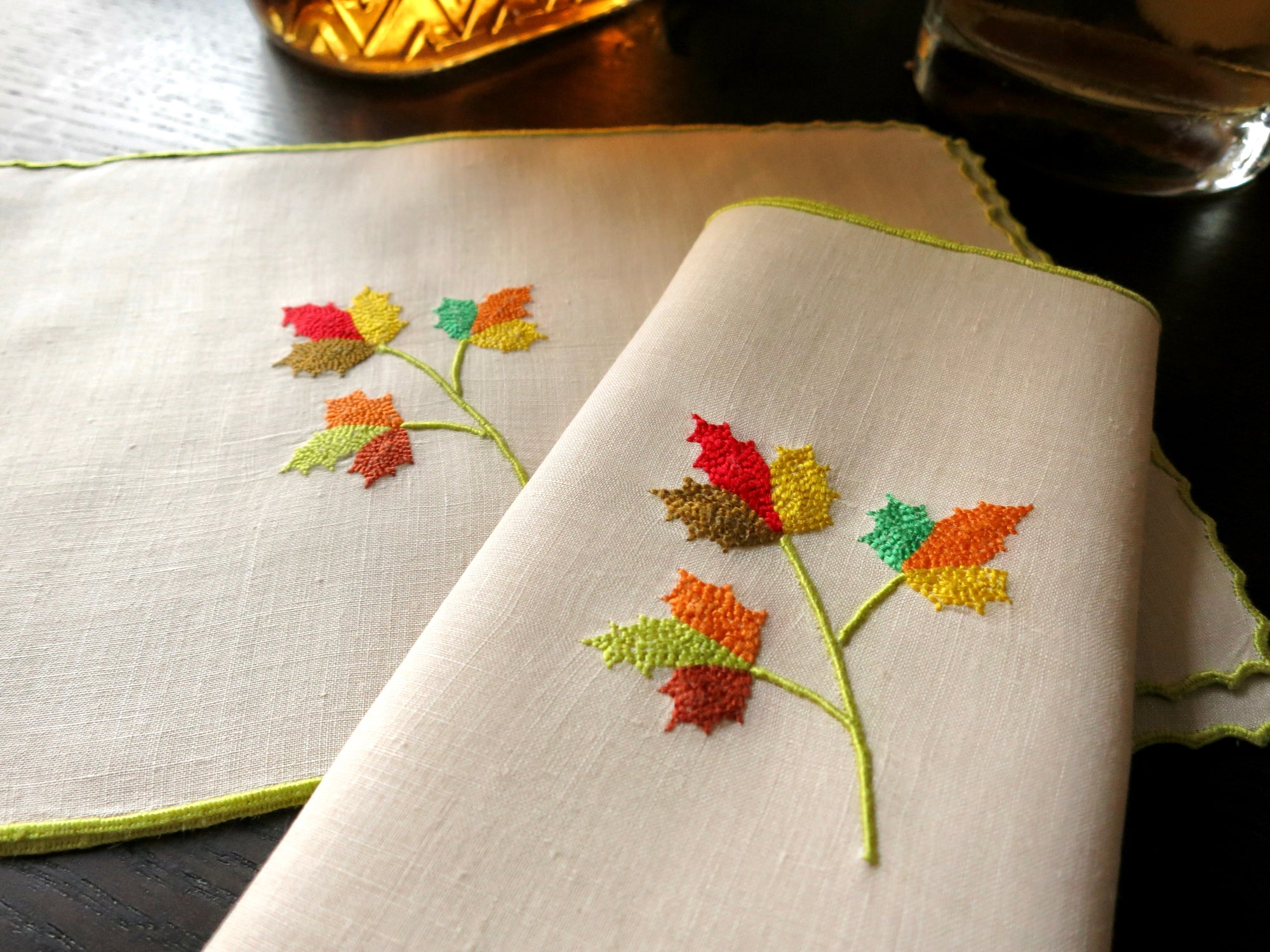 Autumn Leaves Marghab Vintage Madeira Linen Cocktail Napkins - Set of 8