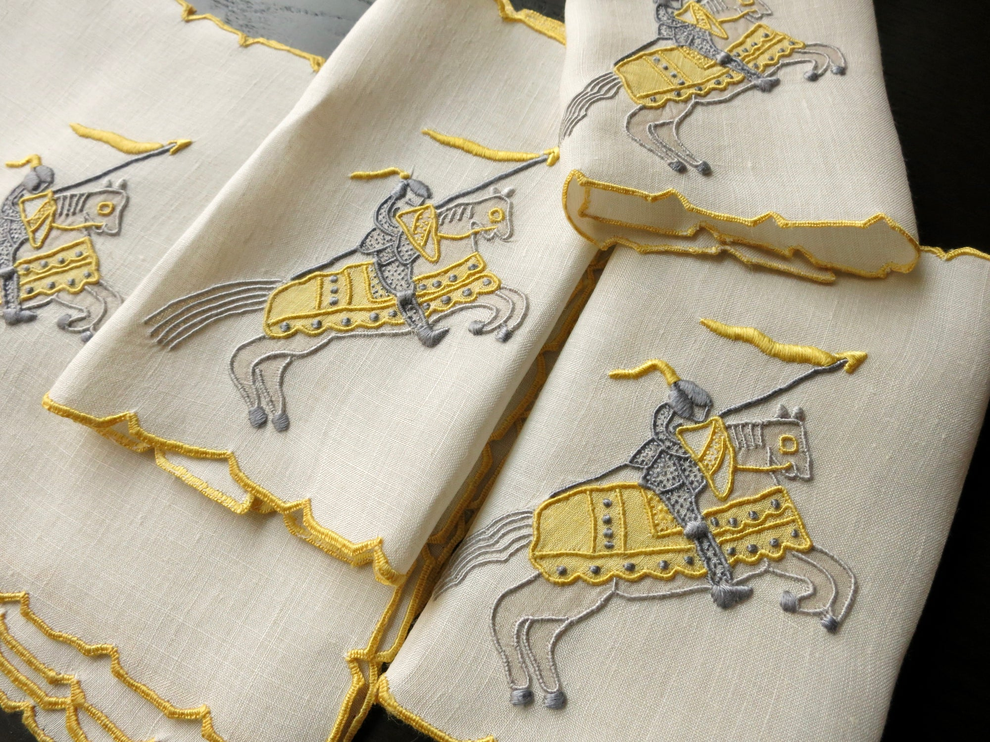"""Knight"" In Yellow Vintage Marghab Linen Cocktail Napkins ~ Set of 8"