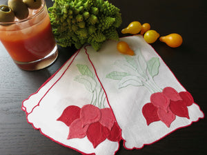 Radishes Vintage Hand Embroidered Linen Cocktail Napkins ~ Set of 6