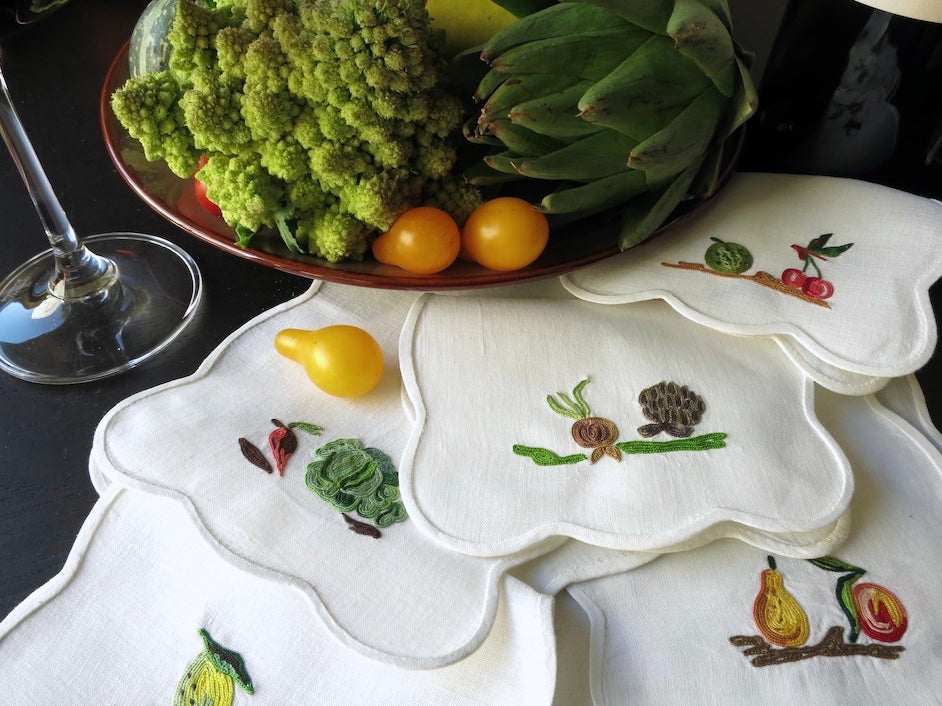 Fruit & Veggies Vintage D Porthault Embroidered 8 Vintage Cocktail Napkins