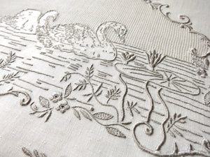 Swans a Swimming Antique Italian Hand Embroidery Guest Towel