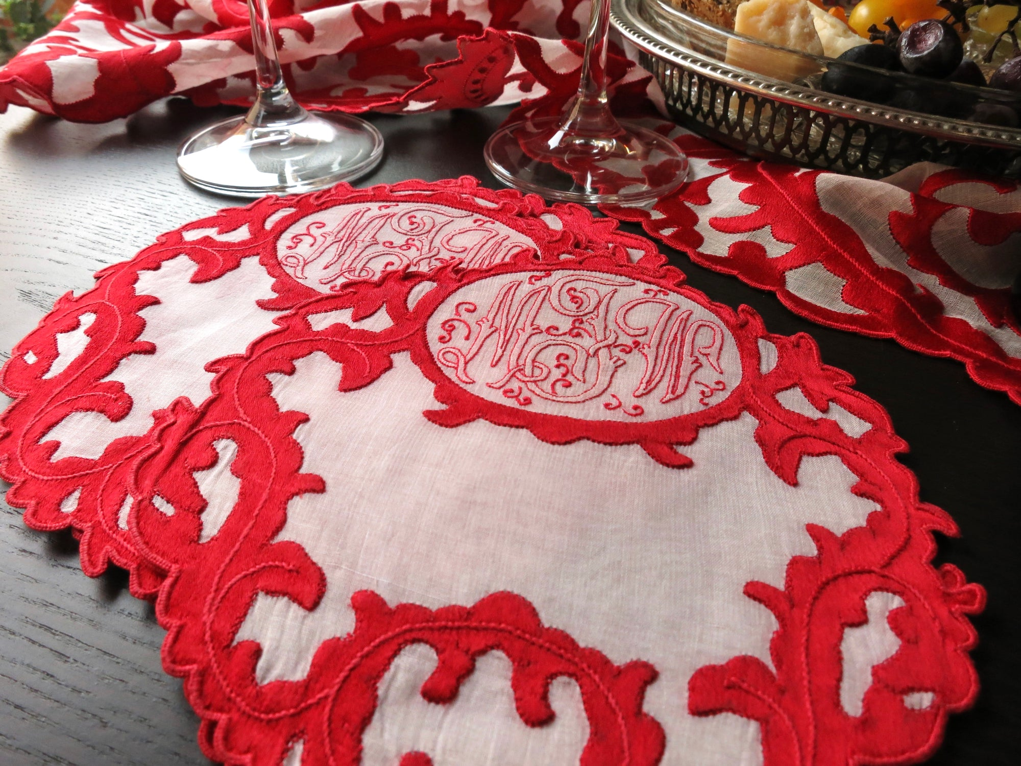 Art Deco Red Silk & Organdy Hand Embroidered Vintage Cocktail Napkins ~ Set of 6