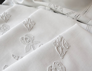 Iris & Monogram Fine Antique French Linen XL Napkins Lace 27x33 ~ Set of 12