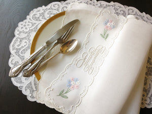 Hydrangeas Vintage Continental Size Napkins Madeira Embroidery ~ Set of 12