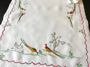 Colorful Pheasants Madeira Embroidery XL Linen Table Runner 17x70""