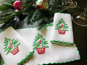 Christmas Trees Vintage Madeira Embroidery Cocktail Napkins ~ Set of 6