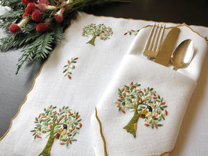 Partridge in a Pear Tree Vintage Hand Embroidery 16pc Linen Placemat Setting for 8