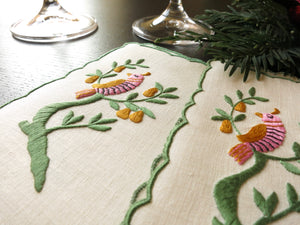 Partridge in a Pear Tree Vintage Madeira Christmas Cocktail Napkins ~ Set of 6