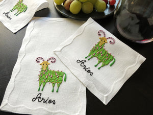 Vintage Aries Zodiac Madeira Embroidered Linen Cocktail Napkins - Set of 8