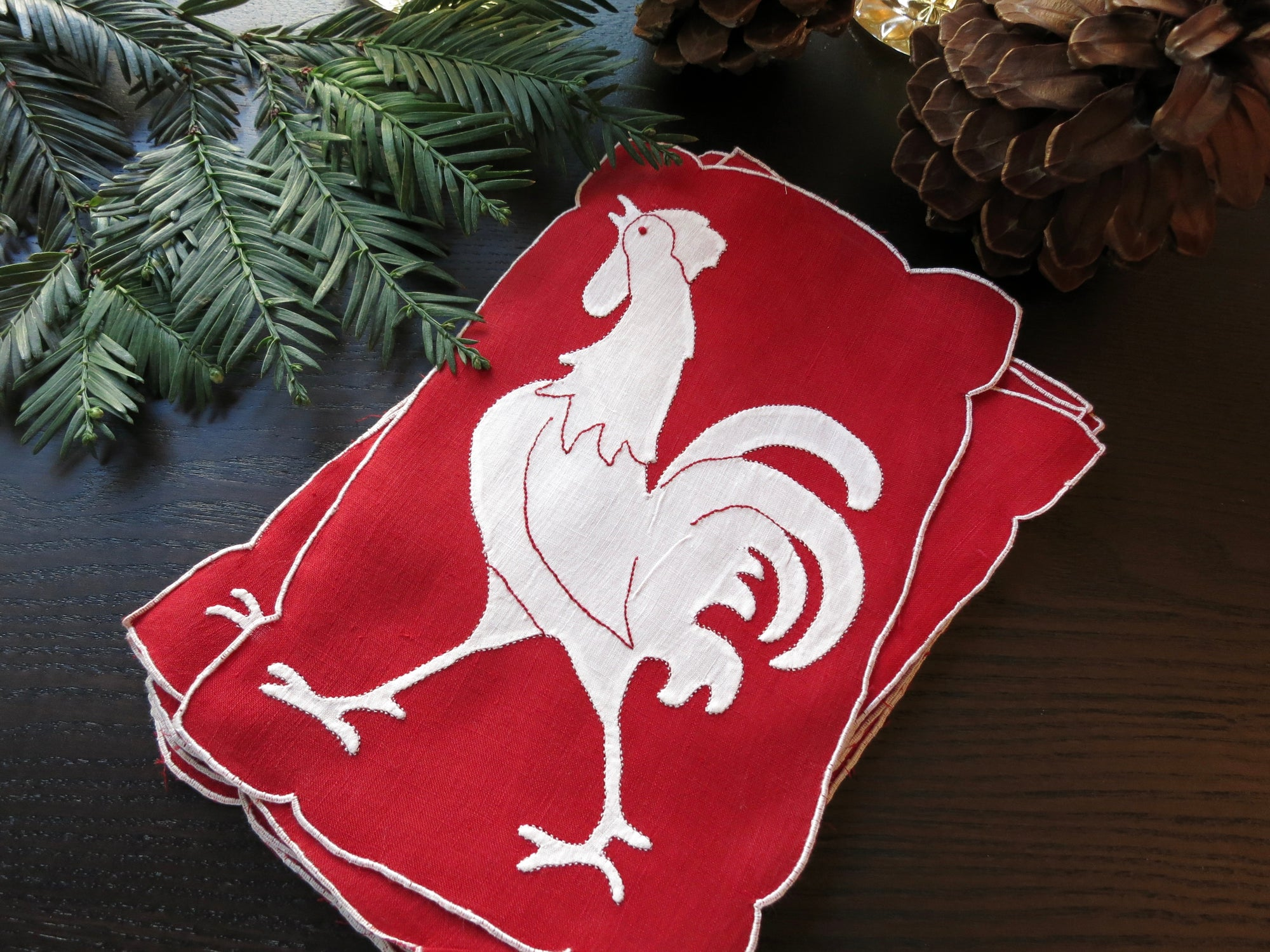 Christmas Cocktails Classic Rooster Vintage Madeira Cocktail Napkins - Set of 6