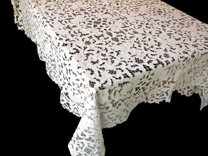 Lush with Flowers Vintage Madeira Embroidery Linen Cutwork XL Tablecloth 66x140""