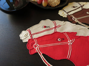 Neck & Neck Horse Race Vintage Madeira Cocktail Napkins - Set of 8