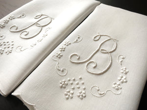 """B"" Monogram Vintage Madeira Embroidery Linen Guest Towels - Set of 2"