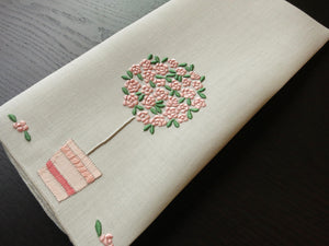 """Rose Tree"" Marghab Vintage Madeira Embroidery Linen Guest Towel"