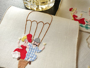 Old Fashioned Romance Vintage Madeira Embroidery Cocktail Napkins - Set of 8