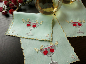 Cocktails & Cherry Garnishes Vintage Madeira Cocktail Napkins - Set of 8